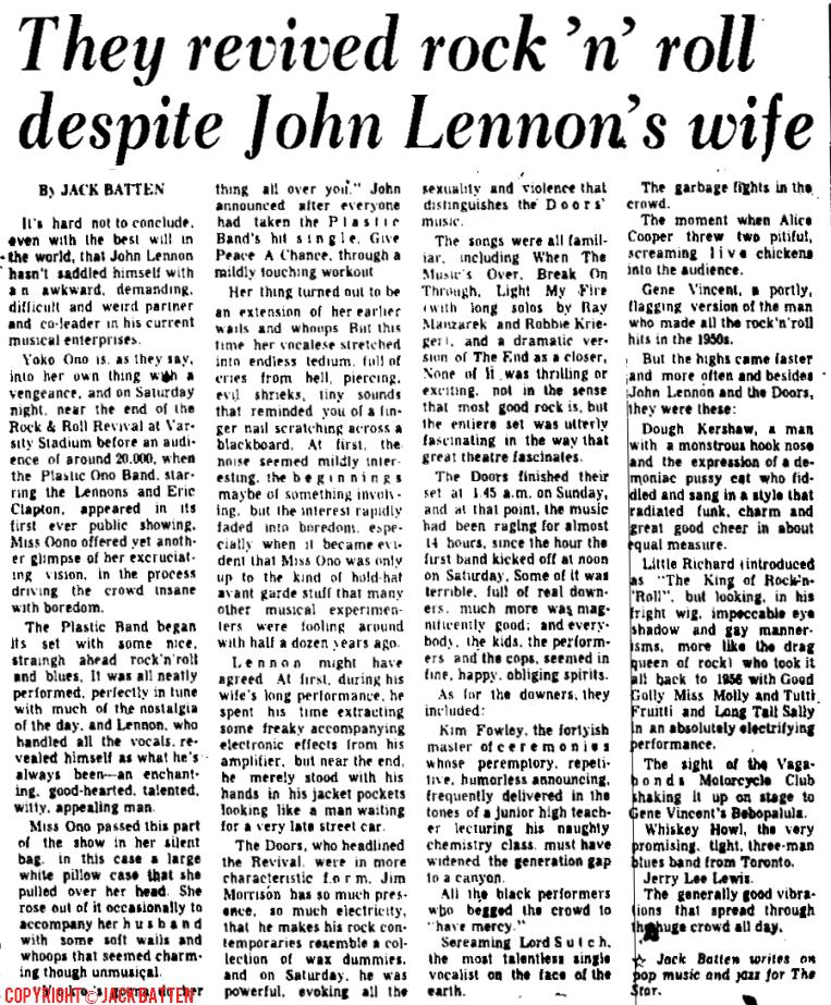Article de presse saluant la présence de Lennon au festival de Toronoto... mais pas celle de Yoko